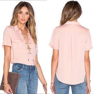 L'Academie Safari Lace Up Blouse Pink XS